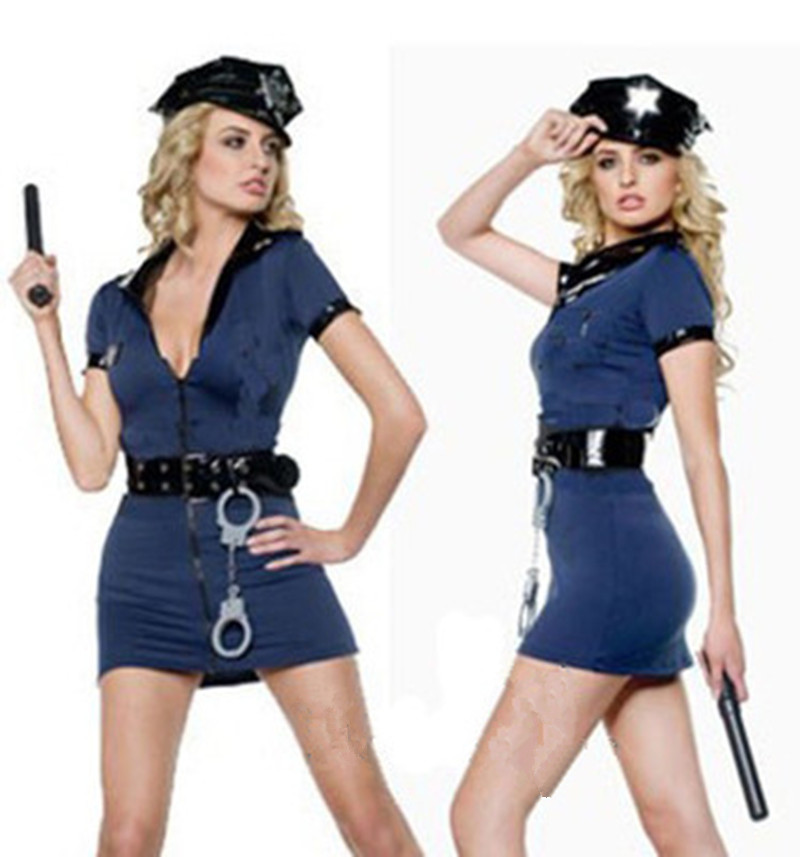 Woman's Sexy Blue Zipper Cop Police Uniform Halloween Costumes for Female Game Stage Costume Cosplay Clothes Fancy Dress