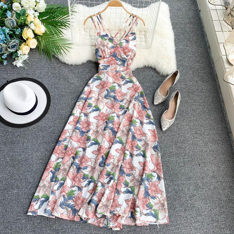 FTLZZ 2020 Women Floral Print Dress Summer Sexy V-neck Backless Long Dresses Female Elegant Bohemian Party Dress Vestido 3