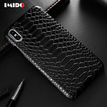 IMIDO Luxury Leather PU Phone Case For iPhone 7 Snakeskin Pattern Design Cover X XR XS MAX 8 6 6S Plus Coque