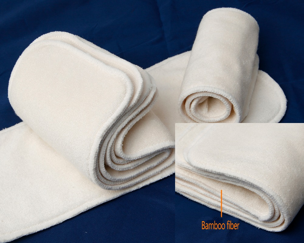 FREE SHIPPING 5PCS Pororo 4 Layers Super Soft Real Nature Bamboo Terry Diaper Inserts Higher Absorbency