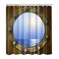 Fabric Waterproof Bathroom Shower Curtain Panel Sheer Decor With Hooks Set, Diving mirror