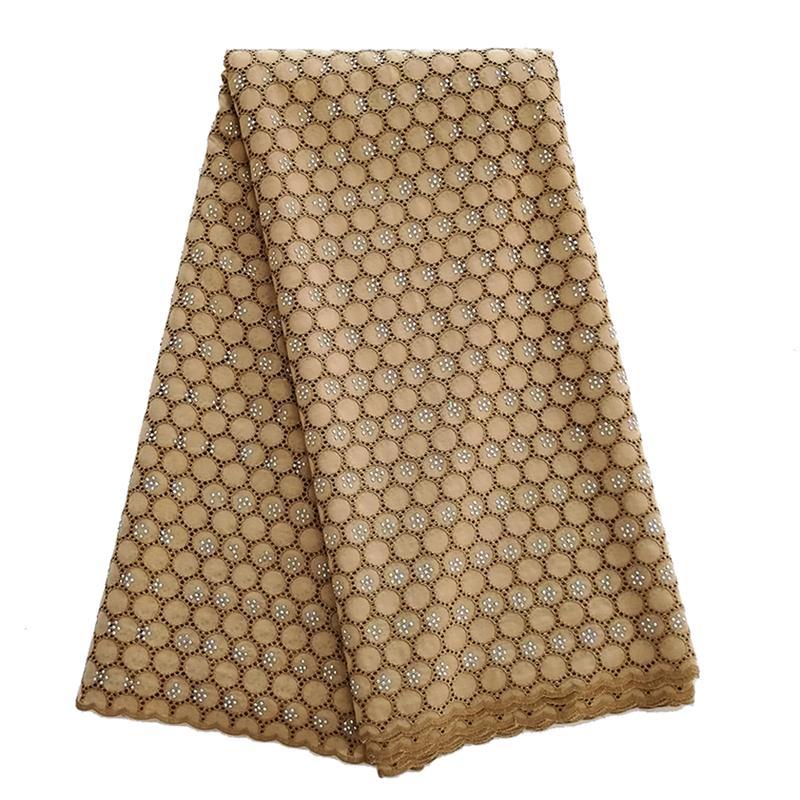 Dernières dentelles nigéria suisse qualité tissu africain dentelle pour hommes et femmes tissu africain dentelle sèche avec beaucoup de pierres café