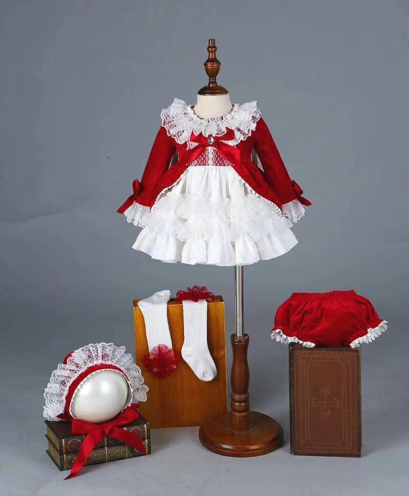 4 PCS Velvet Autumn Winter Girl Vintage Spanish Dress Pompon Ball Princess Dress Lolita Christmas Party