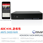 ANTS 4CH,8CH,16CH H.265 4K(8MP) Onvif NVR Support 2x6TB SATA HDD with AEEye Smartphone View App support HDMI Video Audio output