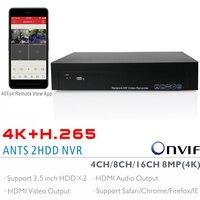 ANTS 4CH 8CH 16CH H 265 4K 8MP Onvif NVR Support 2x6TB SATA HDD With AEEye