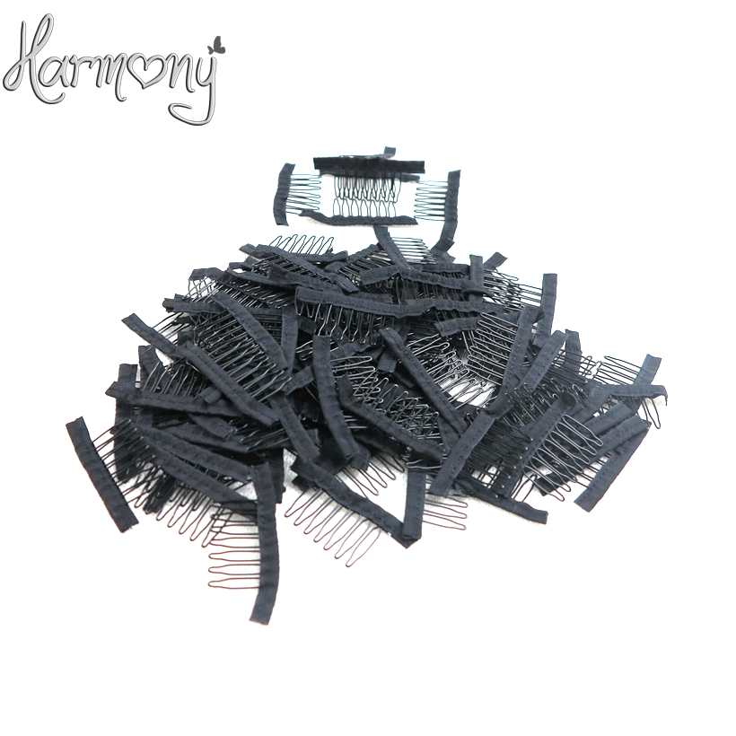 HARMONY free shipping 7teeth wig accessories wholesale black Hair wig Combs attach caps wig combs insert wig clips small size