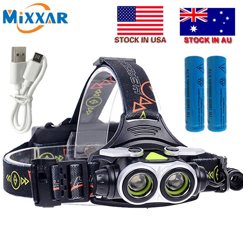 Czk20 2T6 7000LM Proiettori A LED HeadlightHead Lampada di Pesca Luce di Campeggio Lanterna con SOS Fischietti USB charger + 2*18650 batteria
