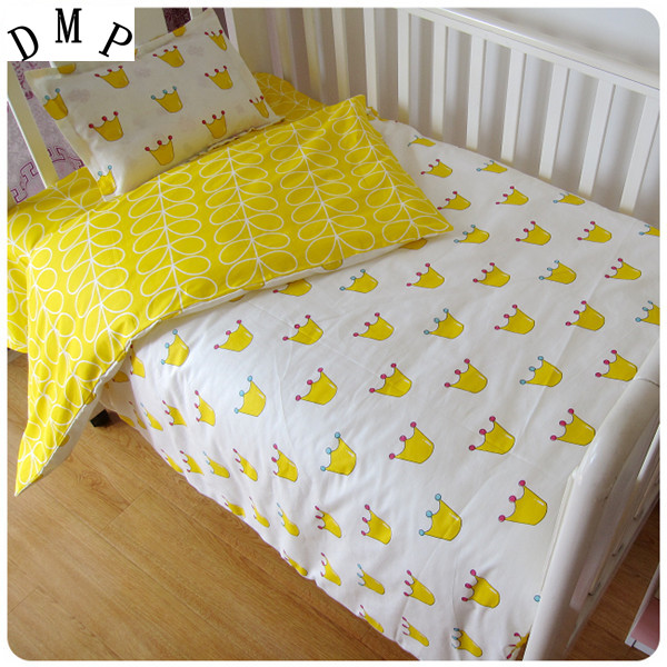 Promotion! 3PCS Cartoon  Baby Crib Bedding Set For Girls,high Quality Infant Cot Set ,Duvet Cover/Sheet/Pillow Cover,
