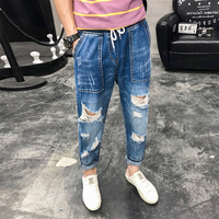 Fashion 2019 Men Jeans Summer Elastic Waist Ripped Jeans For Men All Match Straight Denim Pants Men Ankle Length Hole Trousers
