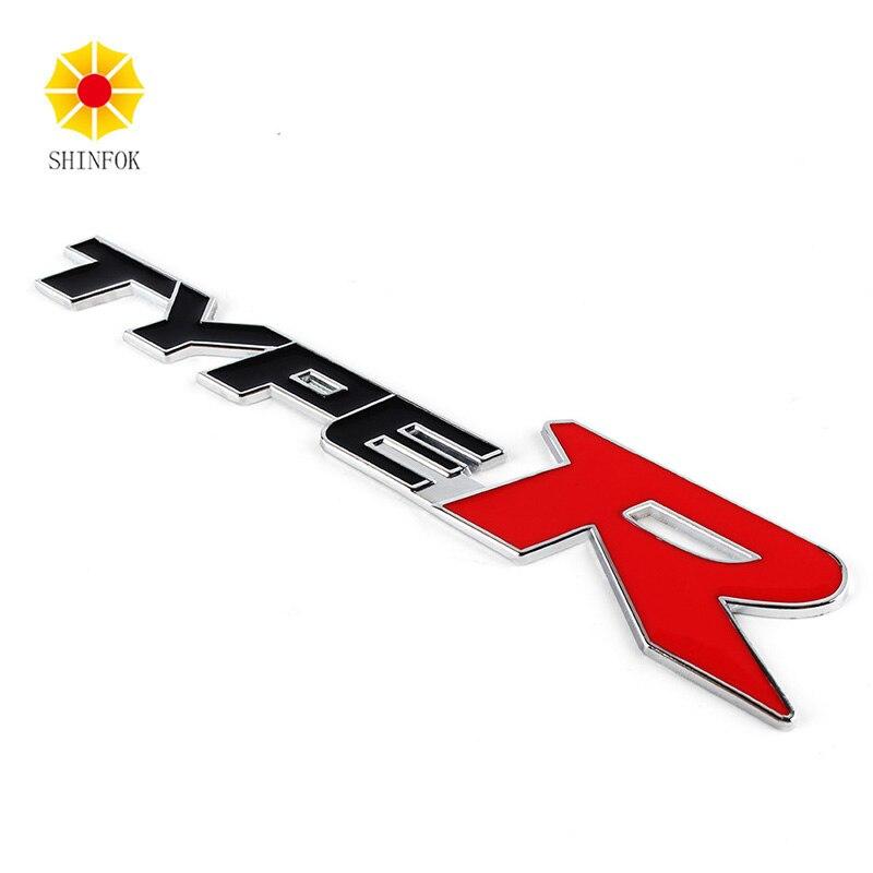 Type R Brand 3D Logo Metal Zinc Alloy Car Sticker For Honda City CR-V XR-V HR-V Accord FIT ветровик rein для honda cr v iii 2006 2012 кроссовер на накладной скотч 3м 4 шт