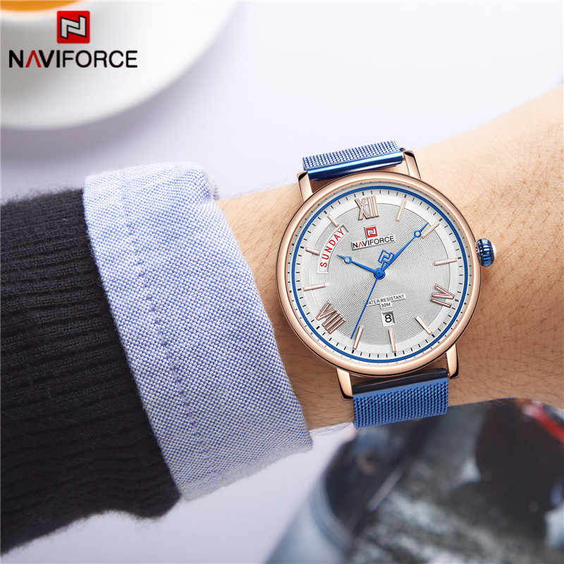Reloj NAVIFORCE para hombre, relojes de negocios de moda, reloj de pulsera de cuarzo impermeable informal para hombre, reloj de malla de acero azul, reloj Masculino