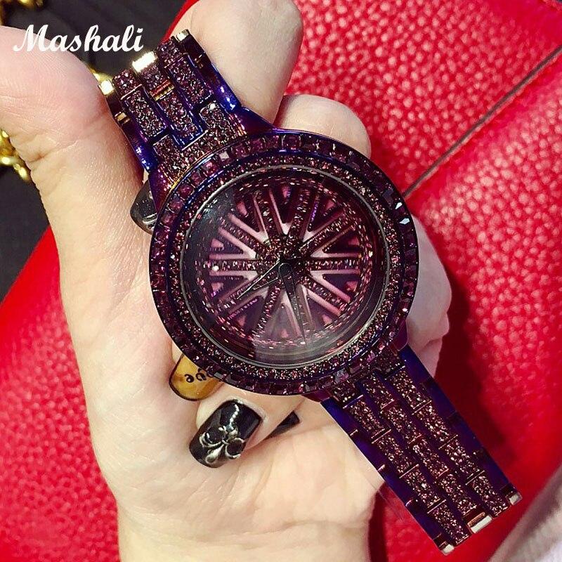 2018 Mashali Brand Women Quartz Watches Full Diamond Rotating Dial Wristwatch Relojes Mujer Lady Purple Watch Relogio Feminino matisse lady austria full crystal dial