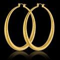 Блестящий Большой Золотой Обруч Серьги Оптовая 2016 Новая Мода 18 К Настоящее Позолоченные Luxury Brand Серьги Женщины Свадебные Украшения