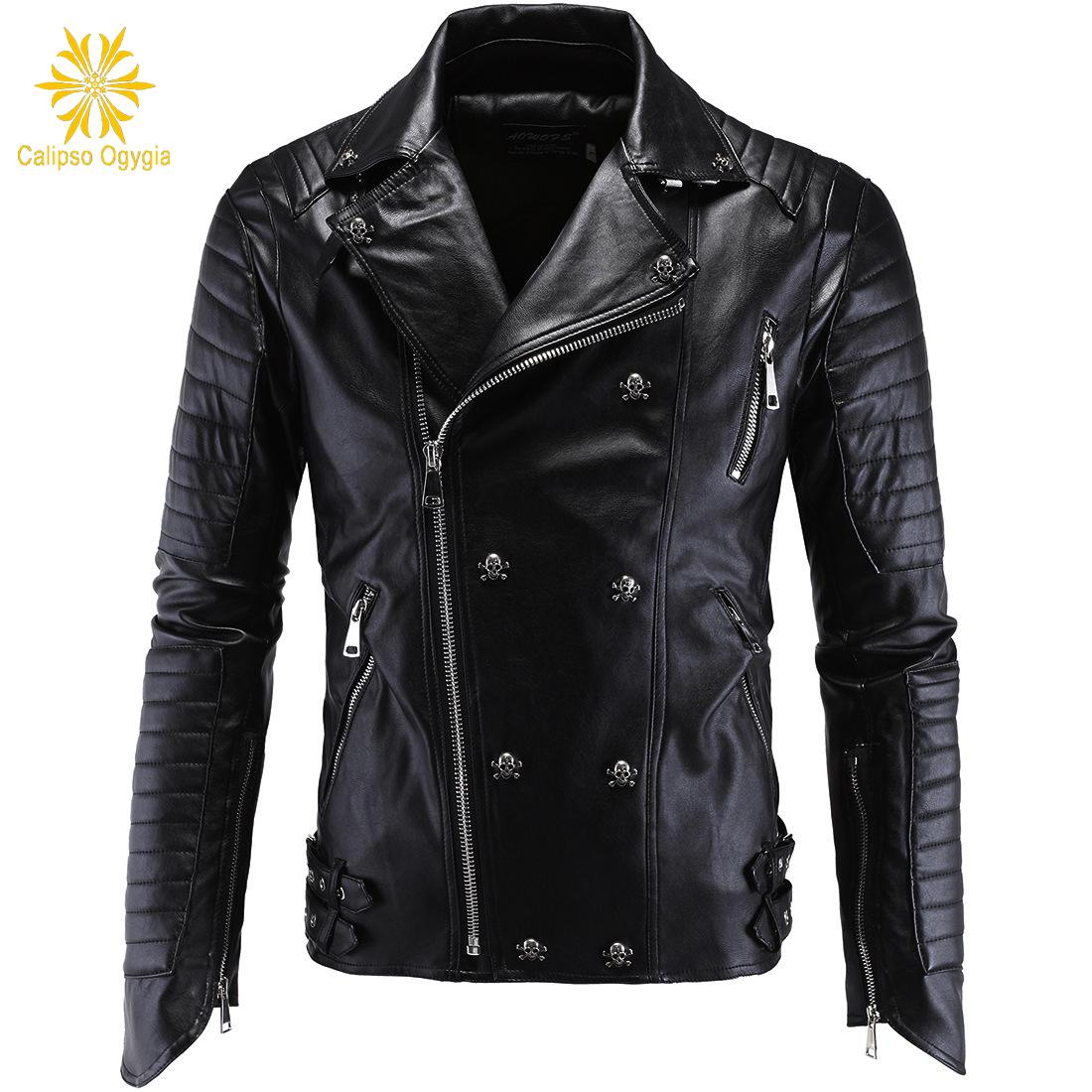 Winter Fashion Mens Leather Jackets And Coats Full Pelt Skullls Botton Punk Style Zippers Pu Leather Jacket Men Motorcycle Coat