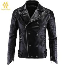 Winter Fashion Mens Leather Jackets and Coats Full Pelt Skullls Botton Punk Style Zippers Pu Jacket Men Motorcycle Coat