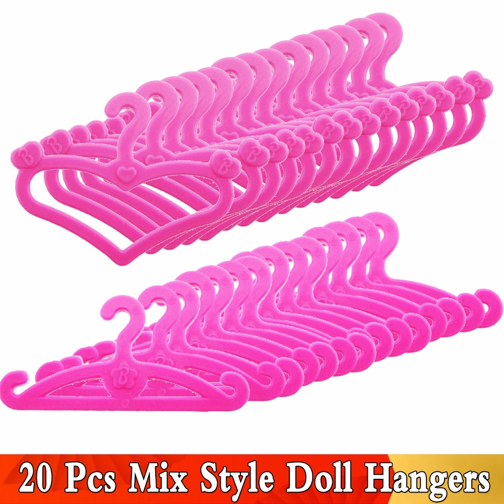 20 Pcs /Lot Pink Mix Style Dolls Hangers Dress Clothes Holder Cute Accessories For Barbie Doll 12'' Pretend Play Girls Gift Toys barbie dolls dress up best gift packs child toys items set doll accessories hangers bag shoe earring bowknot crown