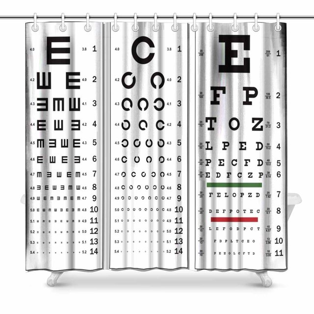 Aplysia Layered Three Kinds Of Eye Chart Polyester Fabric Bathroom Shower Curtain 72 X Inches