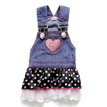 Summer Pet Dog Dress Cat Strap Cute Dot Puppy Jean Dress Apparels Size XS-XL
