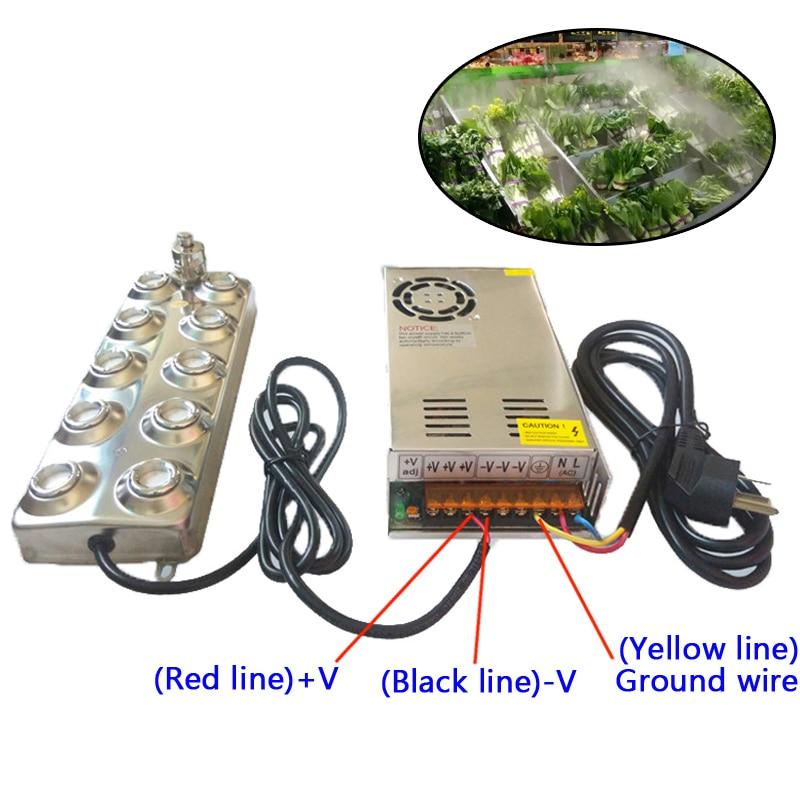 250W Ultrasonic mist maker fogger 10 head humidifier +transformer 4.5kg/h Ultrasonic nebulizer for fresh vegetables ultrasonic mist maker nebulizer humidifier sprayer fogger cn 24