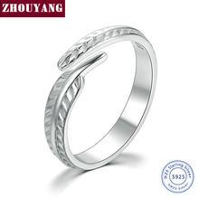 8aee92c867c3 ZHOUYANG 2017 nueva pluma plumaje de Plata de Ley 925 anillos ajustable S925  de joyería de moda para las mujeres regalo de boda .