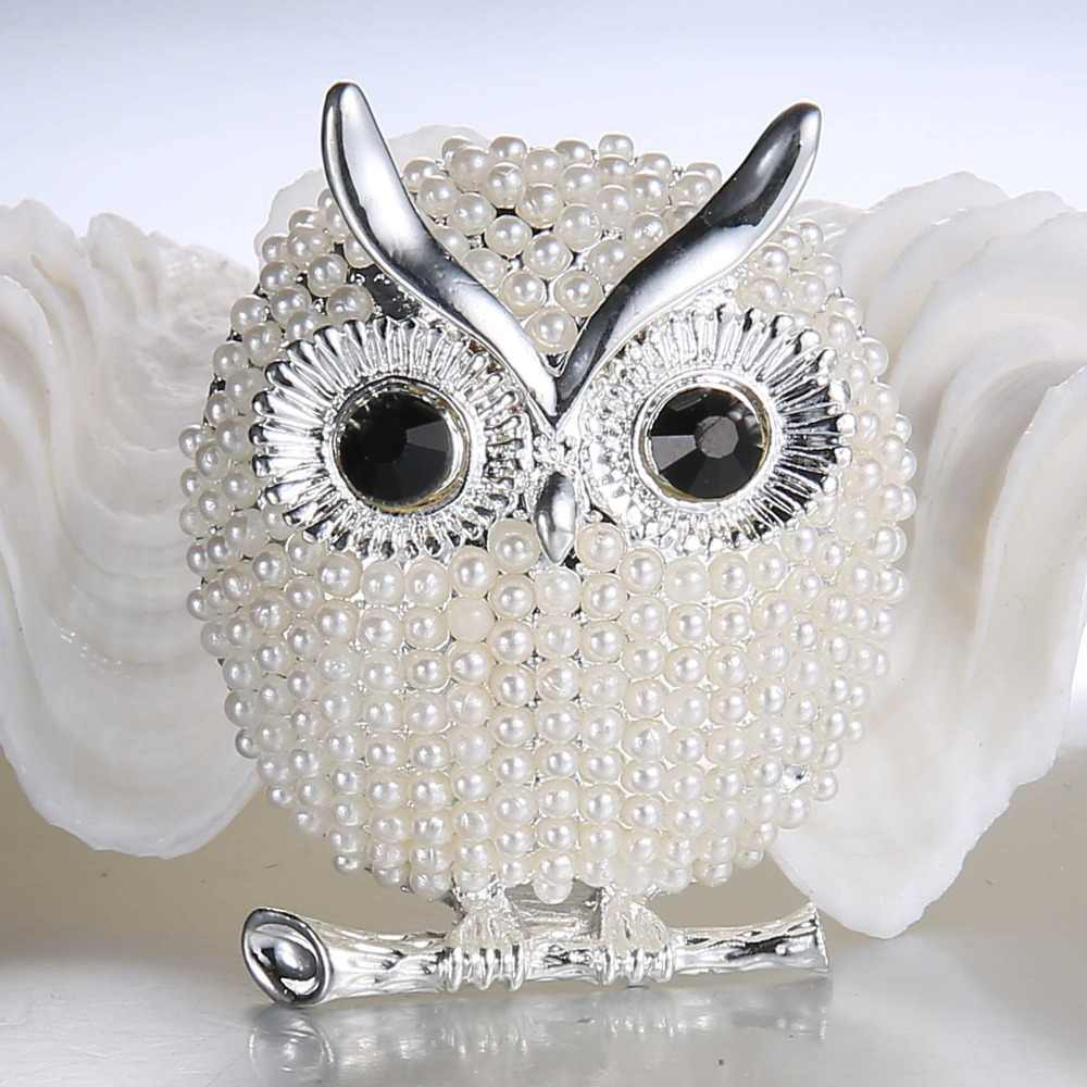 Ринху жемчужные броши сова животное Броши для женщин вечерние аксессуары Свадебные украшения Рождественская Ювелирная брошь