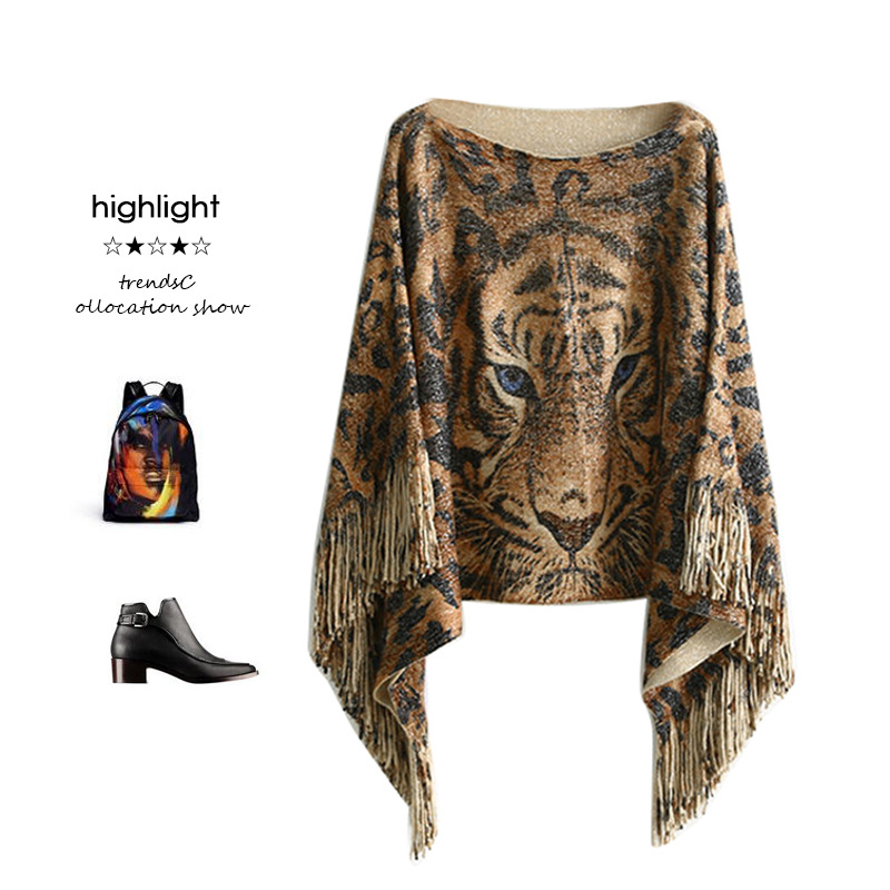 2017 Autumn New Sexy Slash Neck Women Knitted Poncho Tassel Loose Pullover Short Sweaters Tiger Print Womens Capes and Ponchoes