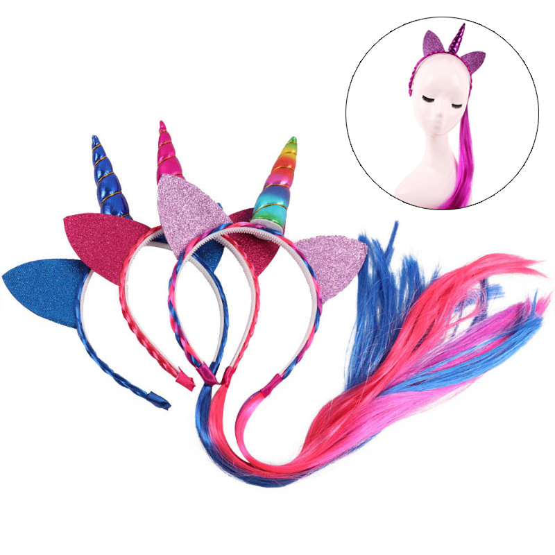Fashion Rainbow Color Ponytail Unicorn Headbands Glitter Ears Kids Girls Princess Braid Wig Hairbands Hair Accessories