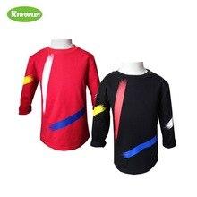 2019 весна осень горячая Распродажа хлопок длинный рукав Мальчики и девочки футболка, черный и красный мальчик удобная одежда