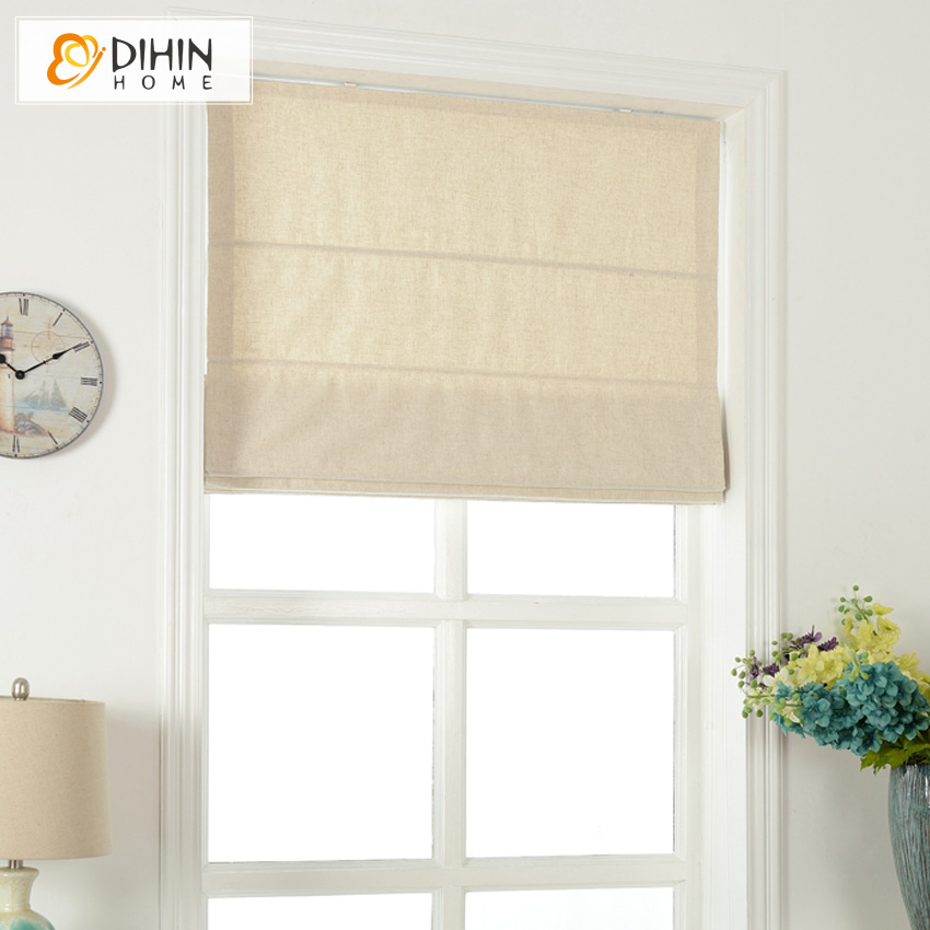 Included Curtains Modern Curtain Pure Beige Cotton/Linen Roman Curtain Blind Home Decor Window Drapes For Living Room-in Curtains from Home & Garden    3