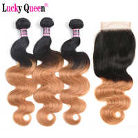 Brazilian Body Wave 3 Bundles With Closure 1b/27 Ombre Hair Bundles 4pcs/lot 100% Human Hair Extensions Lucky Queen Remy Hair