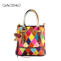QIAOBAO 100 Genuine Leather Bag Patchwork Leather Handbags Flower Big Ladies Hand Bags Girls Soft Genuine