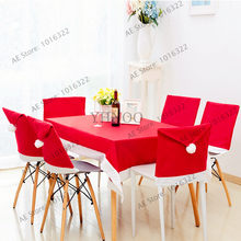2pcs Red Santa Hat Chair Covers,Christmas Decorations Party Dinner Chair Xmas Cap Sets New Christmas Seat Covers(China)