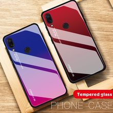 Gradient Glass Phone Case For Xiaomi Redmi Note 7 Note7 Pro Tempered Cover Shell Xiomi 7Pro Business