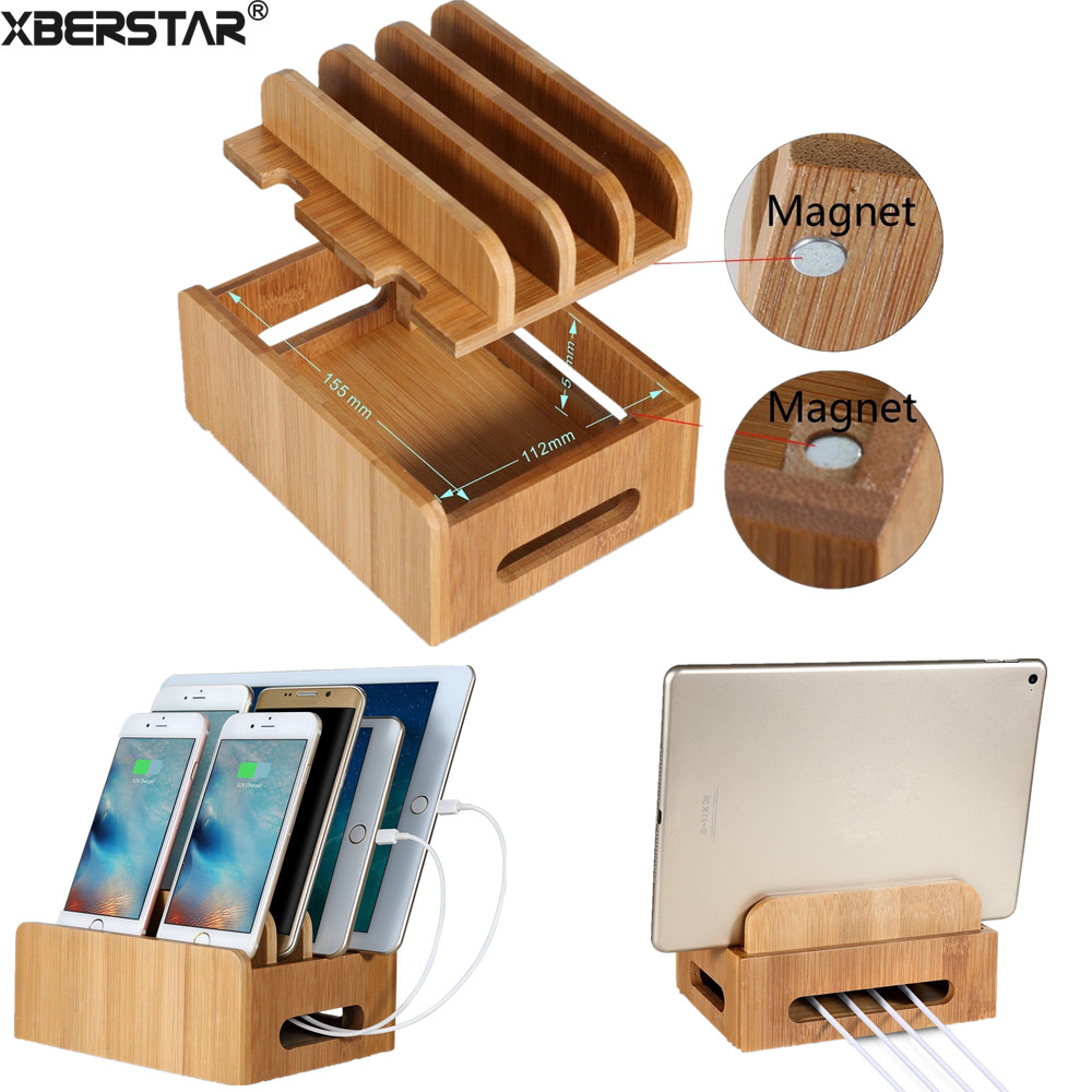 Bamboo Multi Device Cords Charging Station Docks Holder Stand For Smart Phones And Tablets