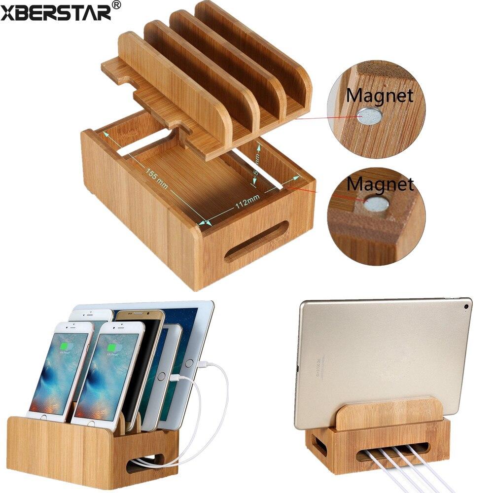 imágenes para Estación de Carga de bambú Multi-dispositivo de Cordones Muelles Soporte para Los Teléfonos Inteligentes y Tabletas para el iphone para Samsung Galaxy teléfonos