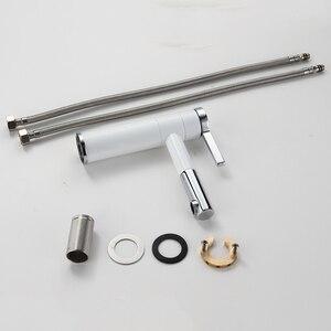 Image 5 - Basin Faucets Brass Bathroom Faucet Vessel Sinks Mixer Vanity Tap Swivel Spout Deck Mounted White Color Washbasin Faucet LT 701L