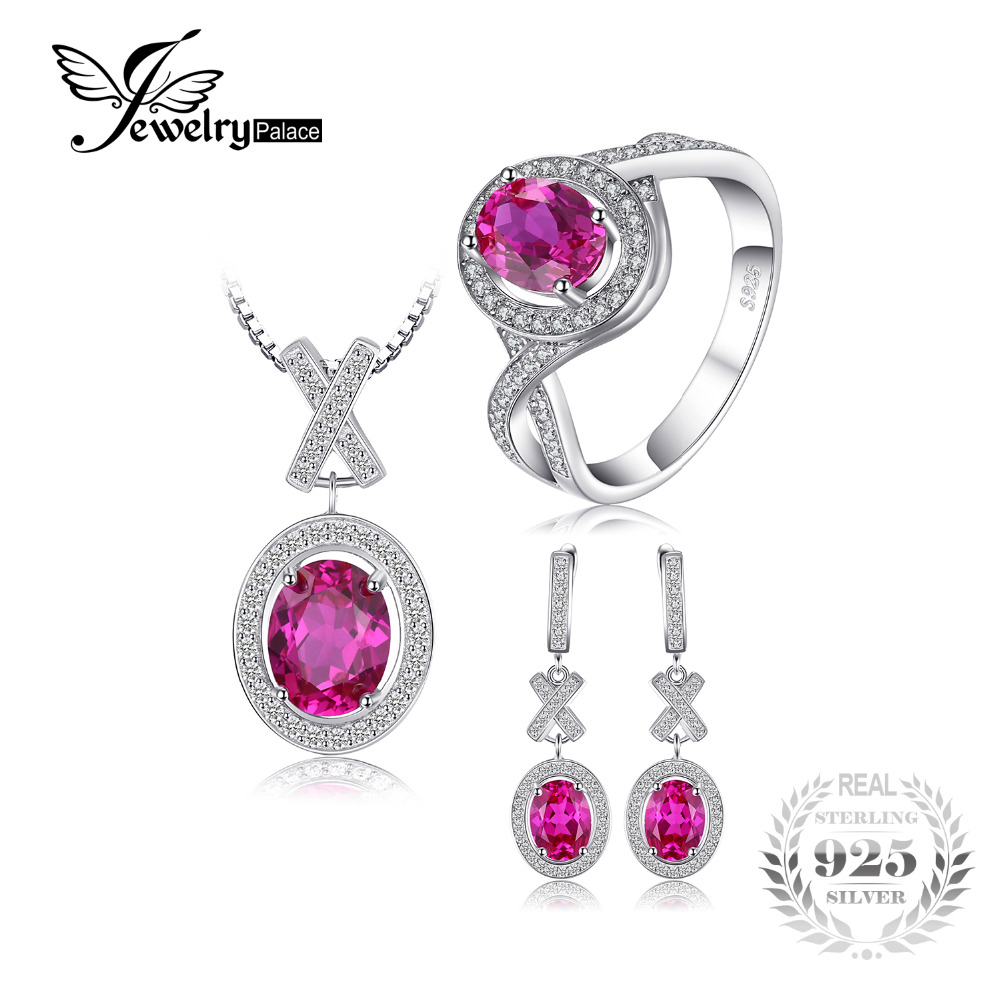 JewelryPalace Classic 8ct Oval Created Pink Sapphire Pendant Necklace Drop Dangle Earrings Ring 925 Sterling Silver Jewelry Set все цены