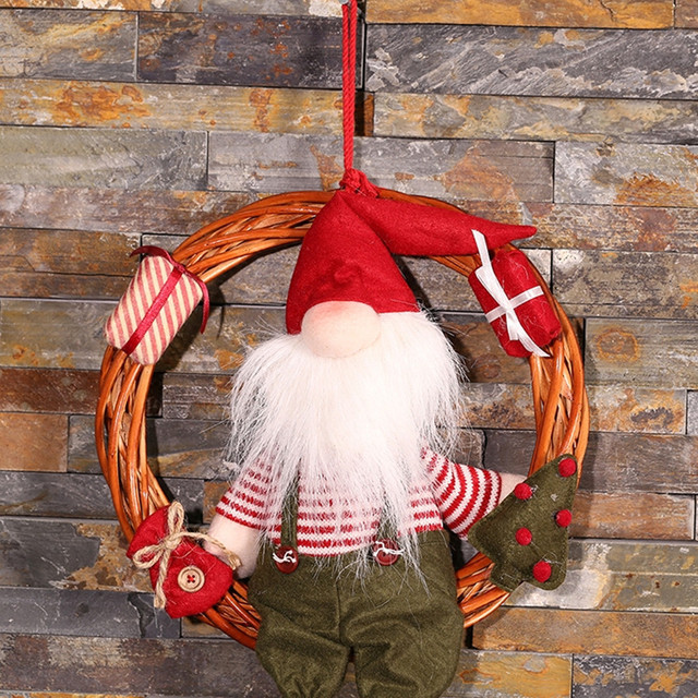 Christmas Pendant Decoration Wreath Rattan Hanging On Door Wall Tree Santa Claus