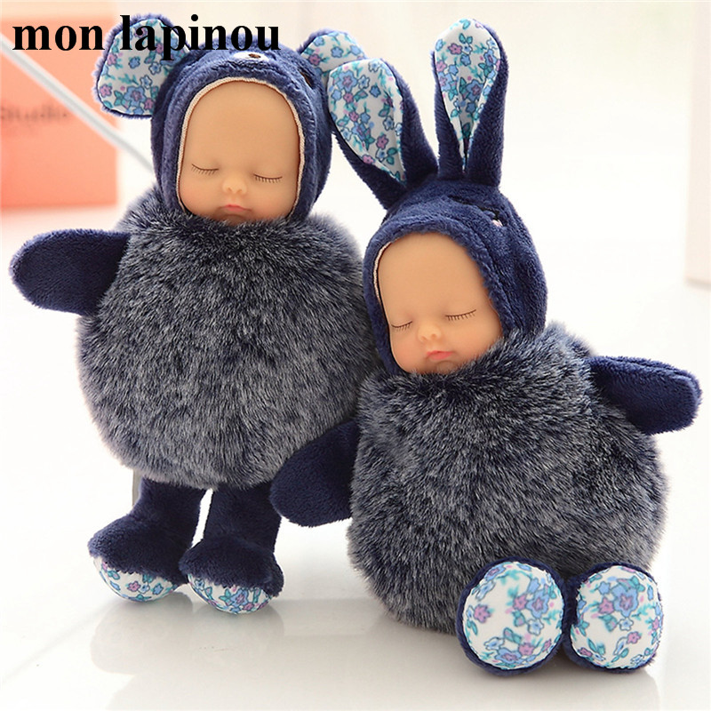 plush bear toy cute lifelike baby doll stuffed rabbit keychain reborn baby small pendant kids toys car keychain for woman