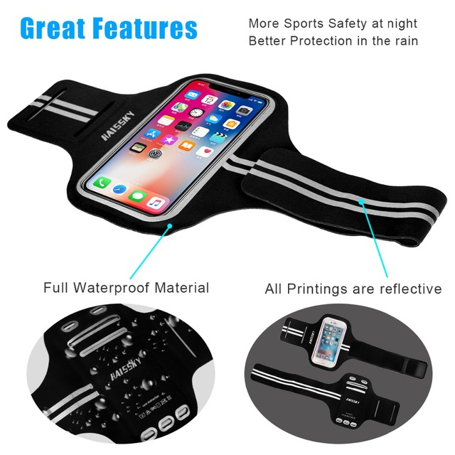 Haissky 5.2 inch Running Sports Armbands For iPhone X XS 8 7 6 6S GYM Fitness Phone Holder For Samsung S5 S6 S7 Huawei P9 P10 6