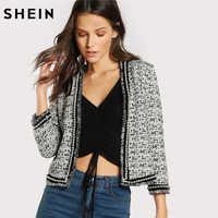 SHEIN Pearl Beaded Frayed Edge Tweed Blazer Fall 2017 Fashion Womens Collarless Work Wear Elegant Fitted Blazers