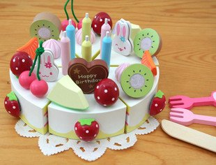 candice guo! Hot sale wooden toy fruit rabbit cake cut good gift for birthday girls love most 1pc