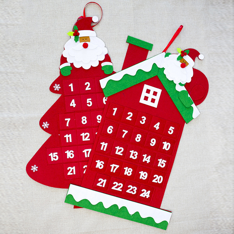 Felt Christmas Tree Advent Calendar: 1piece 2 Designs 65cm Length Felt Christmas Advent