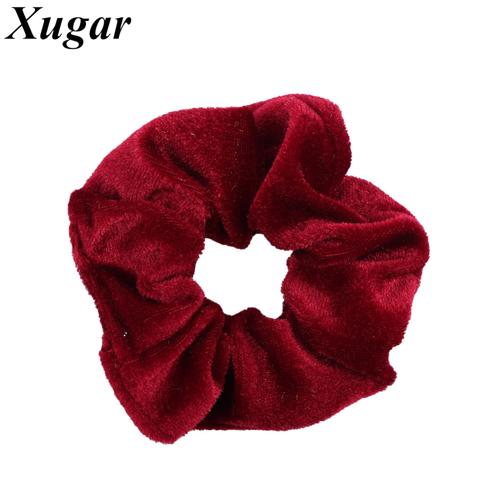 2 Pcs/lot Solid Velvet Elastic Hair Band For Women Ponytail Holder Girls Handmade Hair Tie Children Hair Accessories 20 Colors new 10pcs women lady hair band velvet elastic ponytail tie bow rubber bobbles lovely