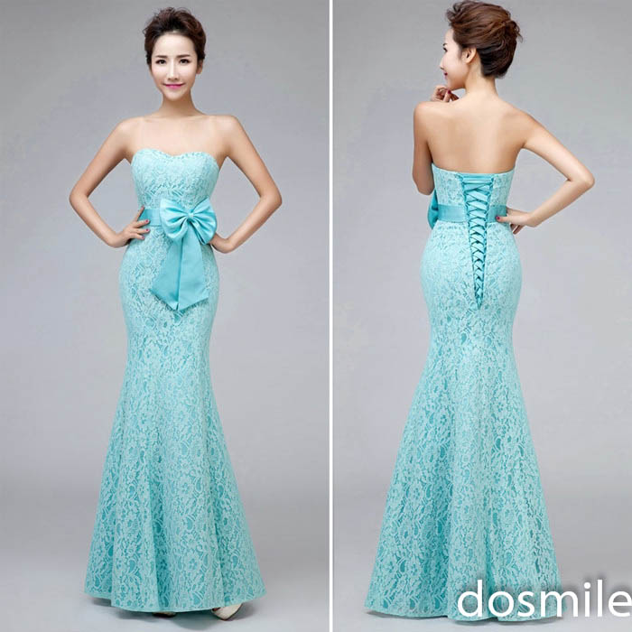 Beautiful Sweetheart Strapless Mermaid Long Lace Teal Blue ...