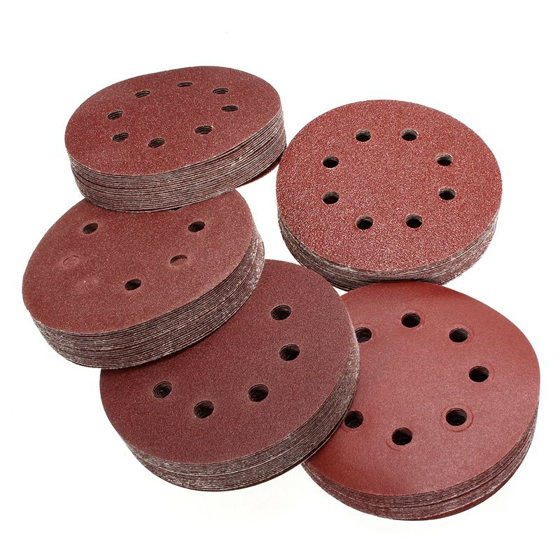 100Pcs 5in Sander Disc 60/80/100/120/240 Grit Sandpaper Sheet Hook Loop Sanding Disc Sanding Disk For Sandpaper Grinding Disc