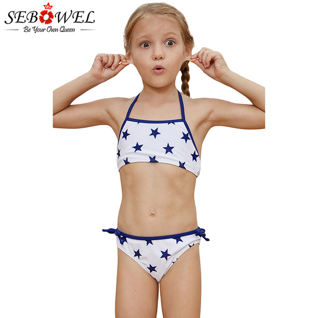 31d0771949a64 SEBOWEL Cute Halter Neck Girls Bikini Set Two Pieces Swimsuit Blue Stars  Print Swimwear Bathing Suit Baby Kids Swimming Beach