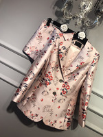 2017SS NEW Luxury Fashion Ladies Pink Satin Floral Jacquard Embroidery Blazers LONG Sleeves Single Breasted Side