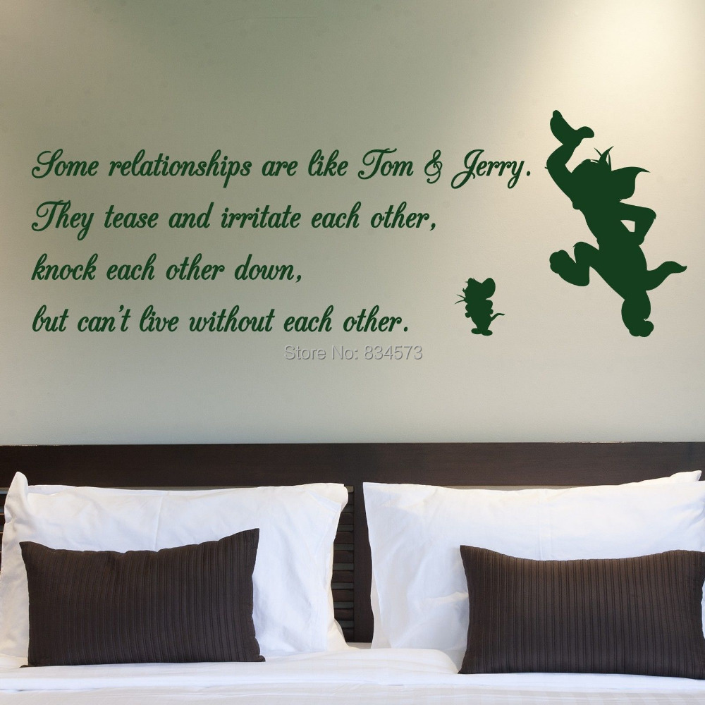 Tom and jerry relationship quote wall art stickers decal home diy tom and jerry relationship quote wall art stickers decal home diy decoration wall mural removable bedroom decor wall stickers in wall stickers from home amipublicfo Image collections