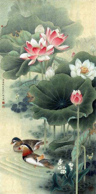 Scenery painting pastoral traditional chinese style lovebirds under scenery painting pastoral traditional chinese style lovebirds under lotus flowers animals masterpiece reproduction mural prints mightylinksfo